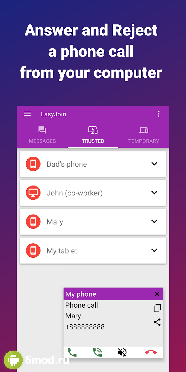 EasyJoin & quot; Pro & quot ;: SMS from PC - Share files offline